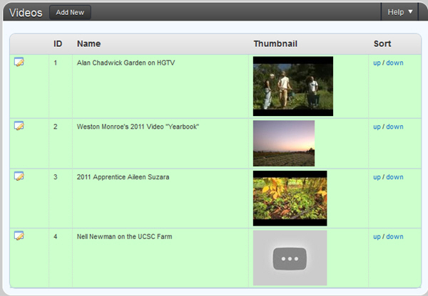 wordpress video listing interface